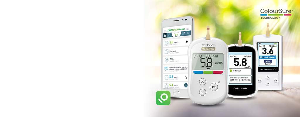 OneTouch Verio Flex® meter, OneTouch Verio® IQ meter, OneTouch Verio® meter, OneTouch Reveal® mobile app