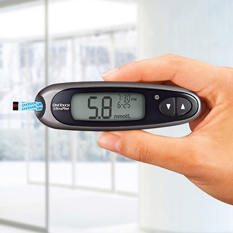 OneTouch UltraMini® meter provides  a simple way to check blood glucose on the go