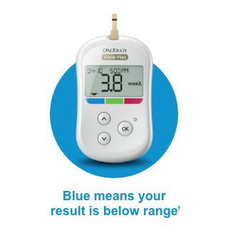 OneTouch Verio Flex® meter - blue means your result is below range