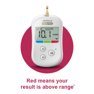 OneTouch Verio Flex® meter - red means your result is above range