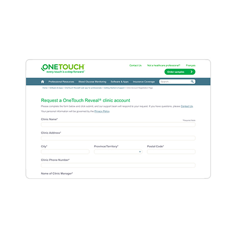 Request a OneTouch Reveal® clinic account